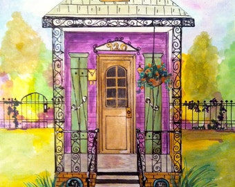 New Orleans Purple Shotgun House Digital Print