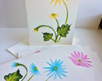 Hand Painted Daisies Greeting Cards - Set of 4 - Blank Inside