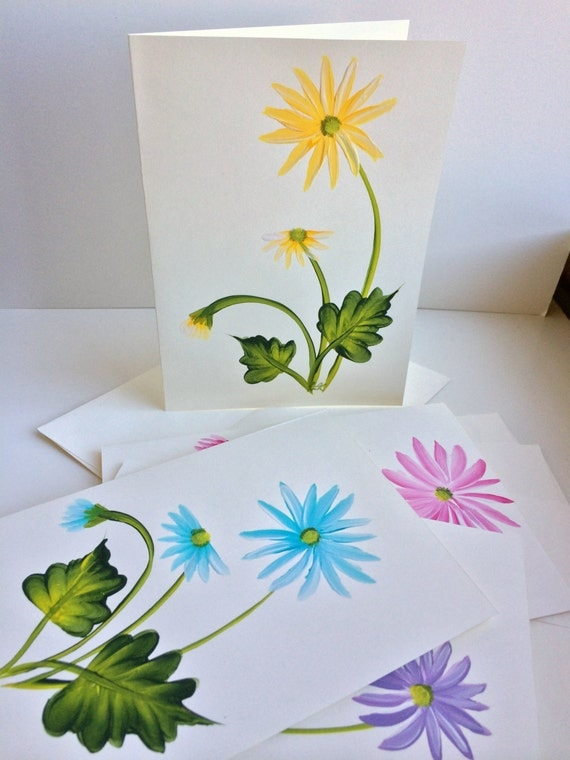 hand painted daisies greeting cards set of 4 blank inside