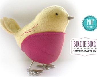 Bird Sewing PATTERN - Birdie Bird - PDF