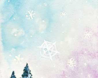 "Winterly original painting, acrylic painting, watercolor painting, ""A winter fairy tale (Taikatalvi)"", 17 x 24 cm 