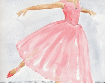 Watercolor Art Print 8x10 of an original watercolor Ballerina Dancer Ballet
