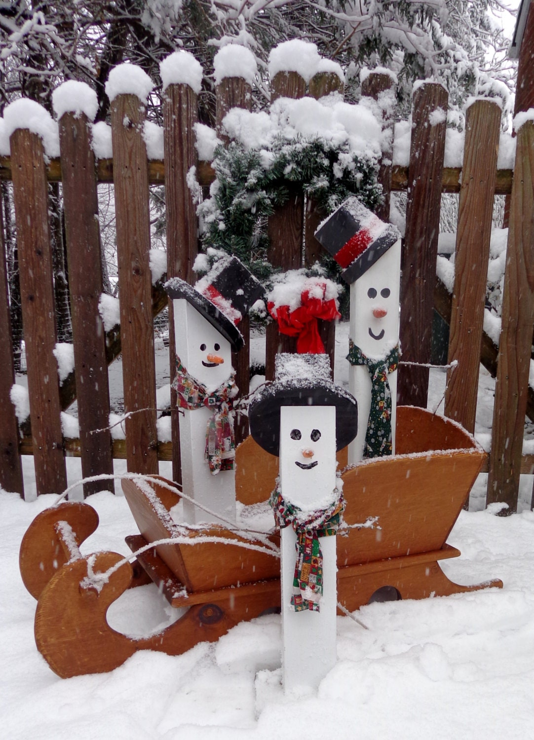 Fence post snowman holiday decorations christmas