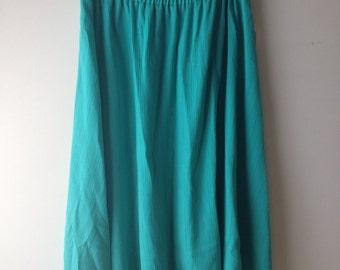 SALE Vintage 1980s / 1990s Teal Midi Skirt / Maxi Skirt / Summer Skirt / Lightweight Skirt / Size 12