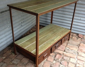 industrial sideboard, industrial furniture, display unit, recycled timber, storage