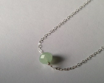 Mint Crystal Silver Necklace : delicate sterling silver mint crystal necklace