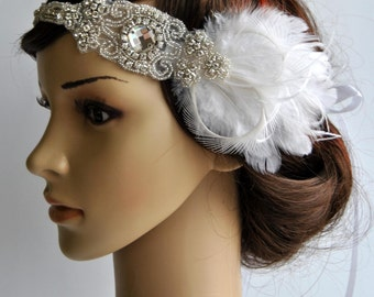 1920s Rhinestone Headpiece bridal hair piece,1920's head piece,Flapper headband, bridal wedding headband, Rhinestone flapper headpiece ivory