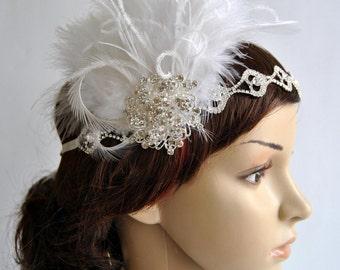 Rhinestone Flapper 1920s headpiece, Rhinestone Headband, Bridal wedding crystal headband, the great gatsby headpiece, rhinestone flapper