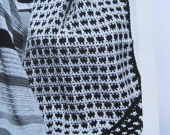"""Crocheted Reversible Jiffy Afghan Blanket Throw 48"""" x 72"""""""