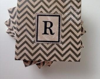 Chevron Monogram Tile Coasters, Personalized Wedding Gift, Wedding Gift, Bridal Shower Gift