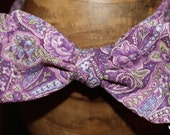 The Jetty-Purple Floral Paisley Bow Tie
