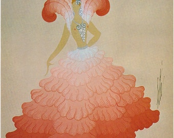 "Erté Print Art Deco 1920's Dress ""Blondes D'Espagne"" Costume Original Vintage Art Print. Decorative Wall Hanging"
