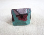 Faceted geometric pyramid handmade marbled green turquoise purple pearlescent lavender resin ring - statement ring - size P1/2 to Q or 8US