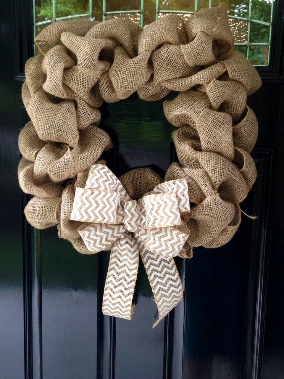 Square Burlap Wreath With White Chevron Burlap Ribbon