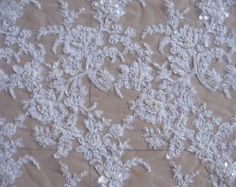 """1005 Sold by 1/2 yard Ivory corded beaded french Bridal Lace Fabric57"""" Scalloped free delivery uk"""