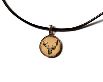 Deer necklace Stag jewelry Animal pendant NW197