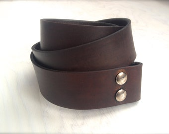 Mocha Brown Leather Belt - Snap Leather Belt - Belt for Removable Buckles in Brown Leather
