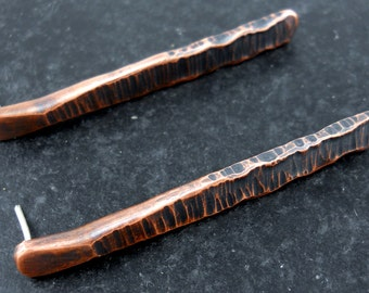 Organic Copper Earrings Hammered Rustic Copper Long Earrings Textured Copper Earrings Rustic Metal Jewelry Gift For Her Limited Edition