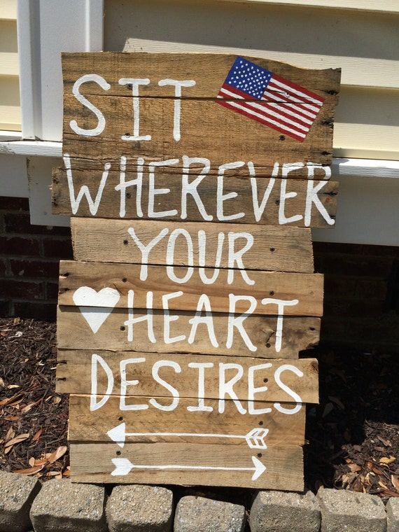 Custom Wooden Pallet Rustic 4th of July Seating Sign