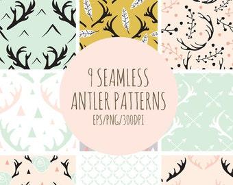 9 Seamless Antlers Pattern //  Digital Antler Patterns //  EPS and JPG //  Reindeer Wallpaper //  Antlers Background