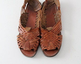 vintage huaraches,  1970s men's leather sandals,  Size 9