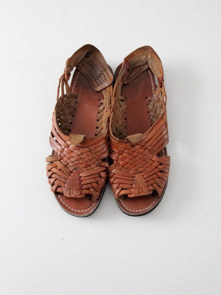 vintage huaraches 1970s s leather sandals size 9