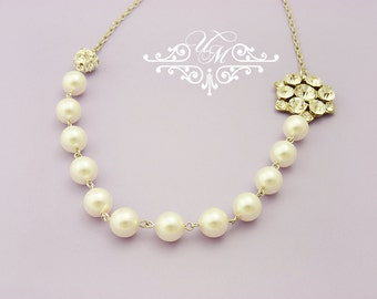 Wedding Necklace Single Strand Swarovski Pearl Necklace Rhinestone Necklace Bridal Necklace Bridal Jewelry Bridesmaids Necklace - NELLIE