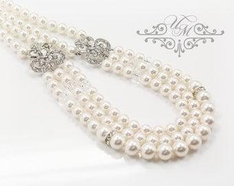 Wedding Jewelry Triple strands Swarovski Pearl Necklace Rhinestone Necklace Bridal Necklace Bridal Jewelry Bridesmaids Necklace - JANICE
