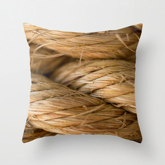 Nautical Rope, Pillow Cover, Neutral Colors, Macro Photography, Throw Pillow, Indoor Outdoor, Porch Decorations, Ocean Beach, Tropical Photo