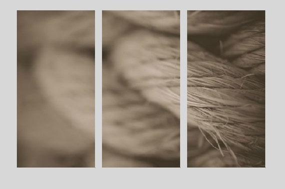 Black and White, Canvas Triptych, Three Panel Print, Nautical Rope, Macro Photography, Beach Photo, Canvas Gallery Wrap, Sepia Tone