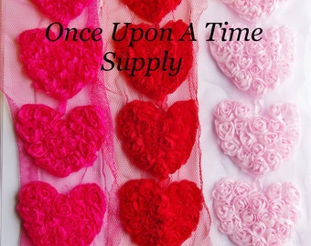 """Set of 6 Red, Hot Pink, and Light Pink Shabby Chiffon 2.5"""" Hearts - Shabby Chiffon Rosettes - Valentine's Day Hairbow Making Supplies"""