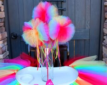 Rainbow Tutu Wands, Rainbow Party Favor, Tutu Party, Rainbow Party, Rainbows