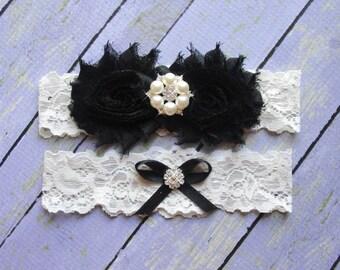 Garter Black, Wedding Garter, Bridal Garter, Wedding Garter Belt, Garter Wedding, Black and Ivory Garters, Ivory Garters, Black Wedding