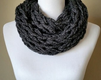 Charcoal Knit Infinity Scarf