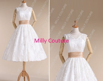 Audrey Hepburn wedding dress, lace short wedding dress, tea length wedding dress, Lace Vintage 1950s Wedding Dress, item:Diana
