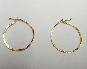 Small Hoops, 14 KT Gold Filled or Sterling Silver, Forged and Hammered, Unique, Handmade By LisaJStudioJeweler.
