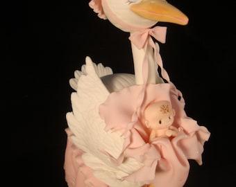 Baby Shower Cake Topper, Stork Cake Topper, Boy Baby Shower, Baby Girl Cake Topper, Blue Baby Shower, Girl Baby Shower Stork Cake Decoration