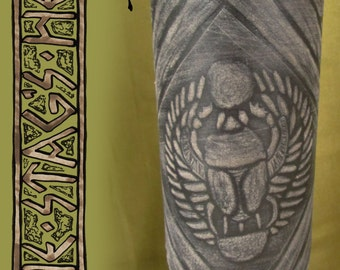 SALE Scarab Khepri Armband: Embossed Leather Armband, Kemet, Egyptian God Khepri, Scarab Beetle, Egyptian Mythology, Kheper, Ancient Egypt