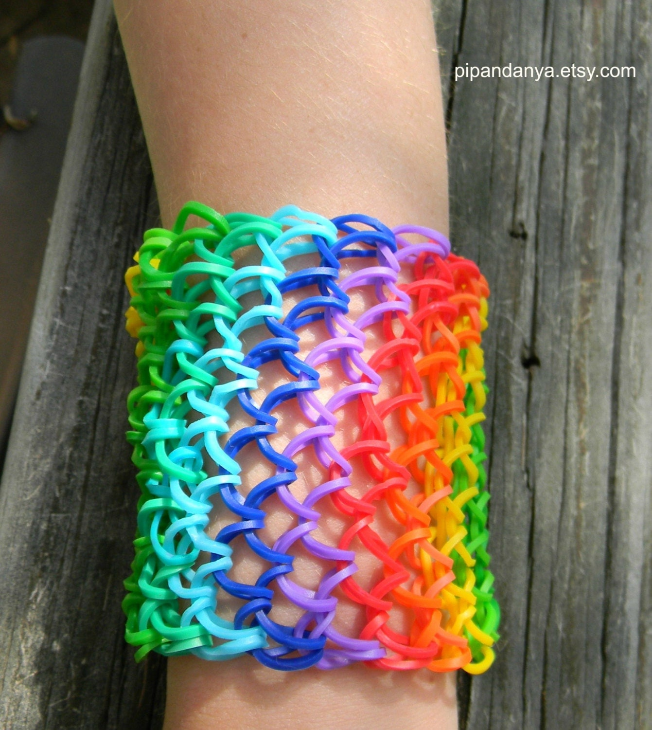 Loom Band Rainbow Bracelet Dragon Scale Bracelet By Pipandanya