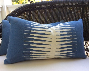 Manuel Canovas Pillow Cover in Blue and Ivory Kazan Woven