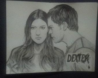 Original hand drawn 11x14 Dexter and Deb portrait