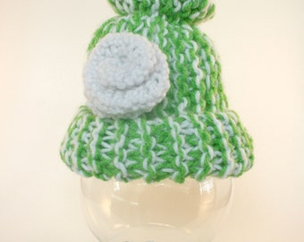 Green Baby Hat, Ready to Ship Knit Baby Hat, 0-3m Green White Baby Hat, Knit Green Baby Hat with White Cabbage Rose, Green White Baby Shower
