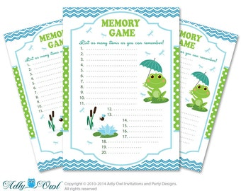 frog memory game for baby shower printable card for baby frog shower
