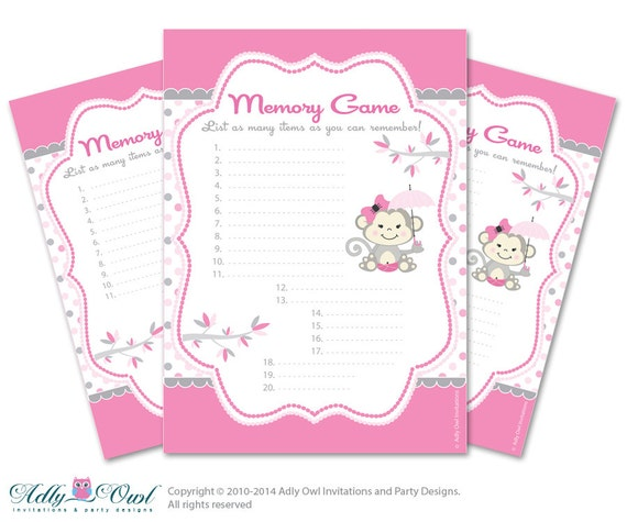 Items Similar To Girl Monkey Memory Game For Baby Shower Printable Card For  Baby Monkey Shower DIY Pink Gray Polka   ONLY Digital File   Aa11bs16 On  Etsy