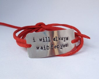 """deployment bracelet, hand stamped, """"i will always wait for you"""", military wife, military girlfriend, deployment jewelry, military jewelry"""