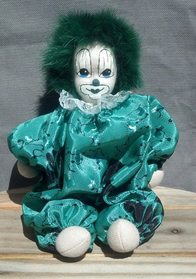 Collectible Sand Bag Clown Doll Handmade Hand Painted Doll
