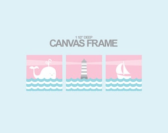 Nautical Nursery Canvas art prints -Whale-Sailboat-lighthouse-Nautical canvas for boys and girls-Set of 3 - 1-1/4'' deep frame-ready to hang