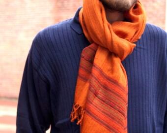 Sale!Himalayan wool scarf with border, winter scarf,handloomed scarf ,Christmas gift idea - Shamshi