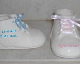 1 Personalized Ceramic Baby Shoe Bootie Keepsake Newborn Birthday Gift