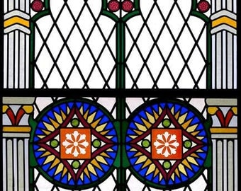 STAINED GLASS WINDOWS Leadlight Panels X 2 Unique Gothic Style